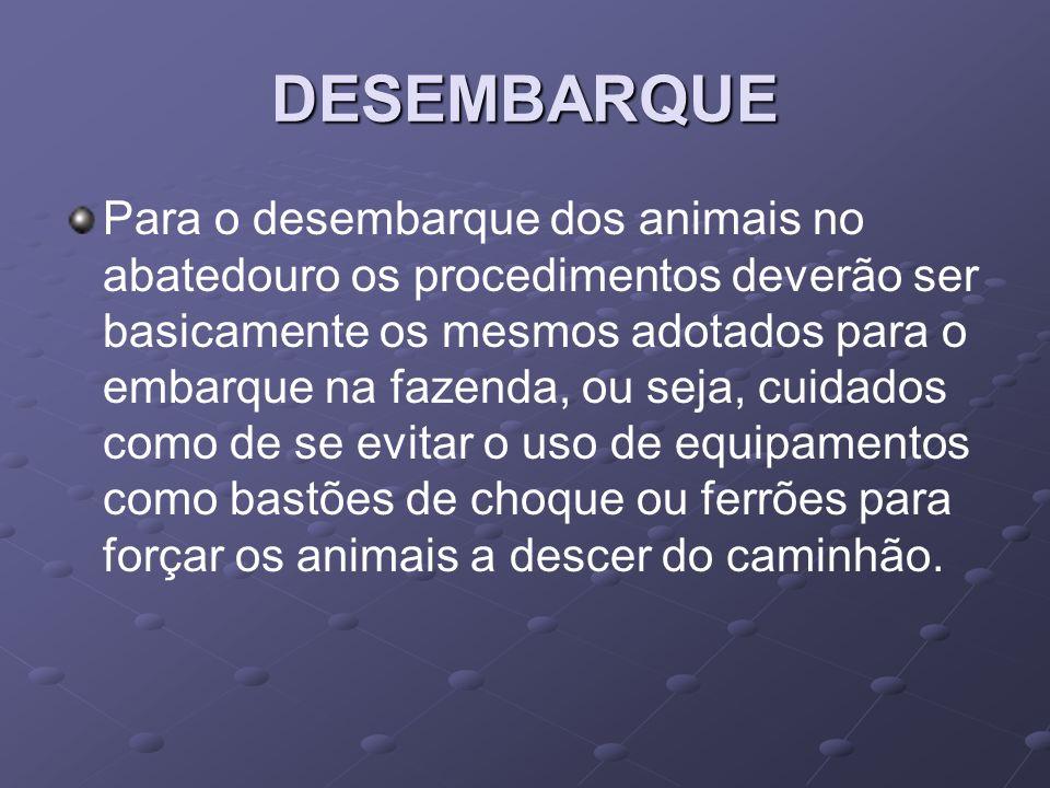 DESEMBARQUE Para o desembarque dos animais no abatedouro os procedimentos deverão ser basicamente os mesmos adotados para o embarque na fazenda, ou se