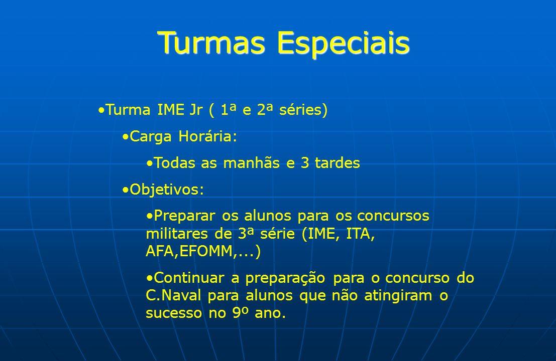 Turmas Especiais Turma IME Jr ( 1ª e 2ª séries) Carga Horária: Todas as manhãs e 3 tardes Objetivos: Preparar os alunos para os concursos militares de