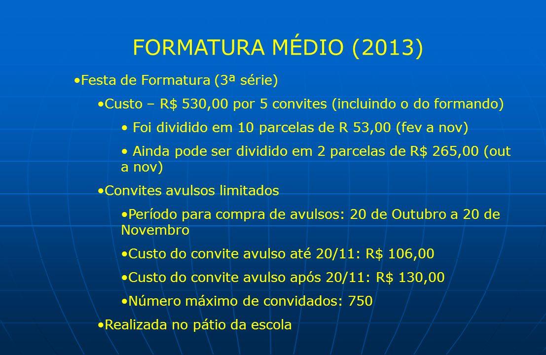 FORMATURA MÉDIO (2013) Festa de Formatura (3ª série) Custo – R$ 530,00 por 5 convites (incluindo o do formando) Foi dividido em 10 parcelas de R 53,00