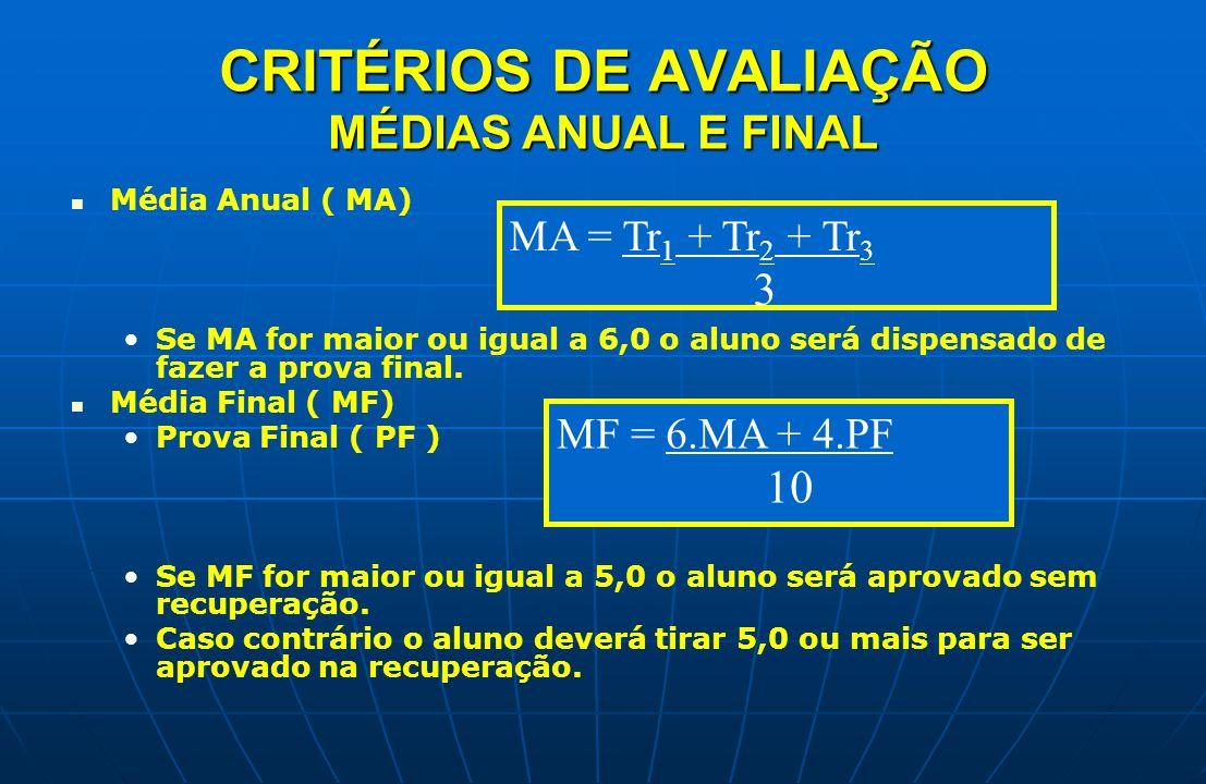 CRITÉRIOS DE AVALIAÇÃO MÉDIAS ANUAL E FINAL Média Anual ( MA) Se MA for maior ou igual a 6,0 o aluno será dispensado de fazer a prova final. Média Fin