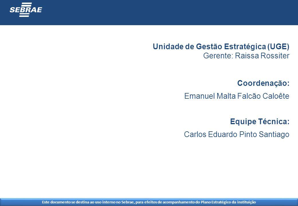 Este documento se destina ao uso interno no Sebrae, para efeitos de acompanhamento do Plano Estratégico da instituição Unidade de Gestão Estratégica (