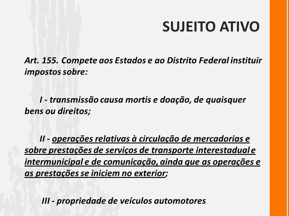 SUJEITO ATIVO Art. 155. Compete aos Estados e ao Distrito Federal instituir impostos sobre: I - transmissão causa mortis e doação, de quaisquer bens o