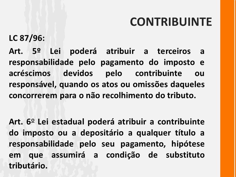 CONTRIBUINTE LC 87/96: Art. 5º Lei poderá atribuir a terceiros a responsabilidade pelo pagamento do imposto e acréscimos devidos pelo contribuinte ou