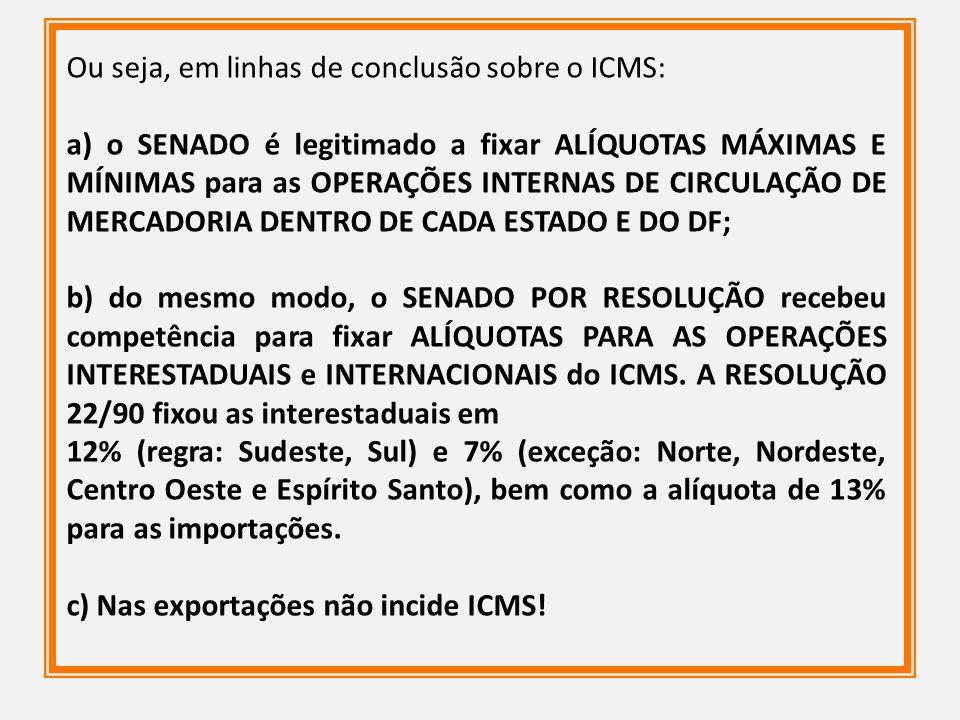 Ou seja, em linhas de conclusão sobre o ICMS: a) o SENADO é legitimado a fixar ALÍQUOTAS MÁXIMAS E MÍNIMAS para as OPERAÇÕES INTERNAS DE CIRCULAÇÃO DE
