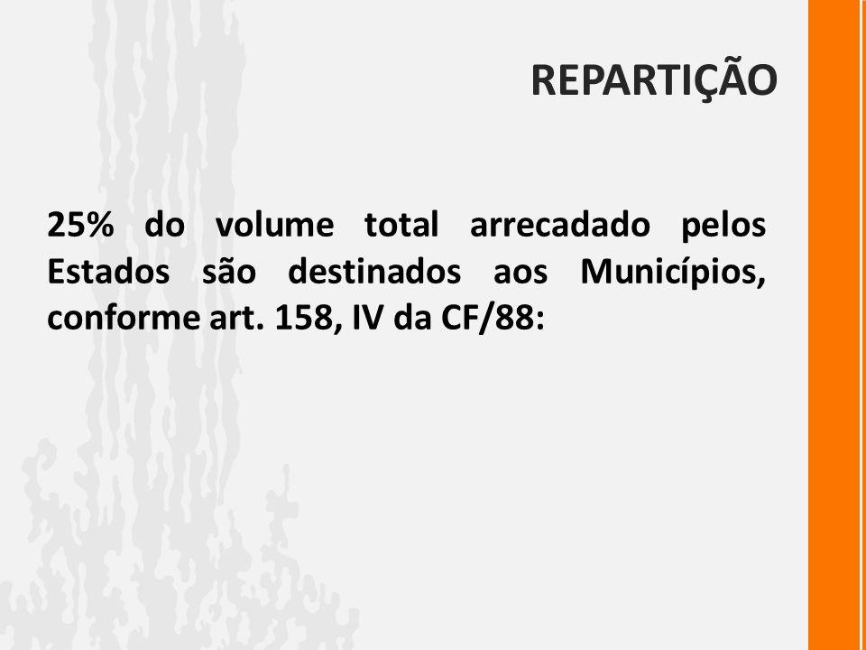 REPARTIÇÃO 25% do volume total arrecadado pelos Estados são destinados aos Municípios, conforme art. 158, IV da CF/88: