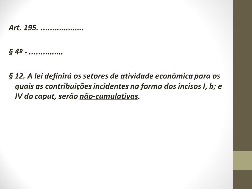 Art. 195.................... § 4º -............... § 12. A lei definirá os setores de atividade econômica para os quais as contribuições incidentes na
