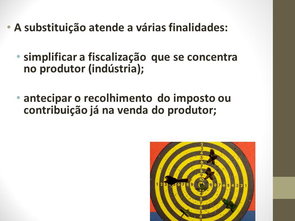 A substituição atende a várias finalidades: simplificar a fiscalização que se concentra no produtor (indústria); antecipar o recolhimento do imposto o