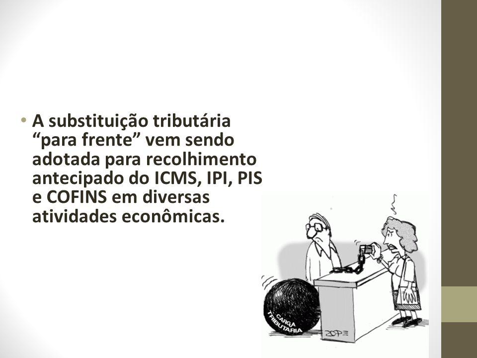 A substituição tributária para frente vem sendo adotada para recolhimento antecipado do ICMS, IPI, PIS e COFINS em diversas atividades econômicas.