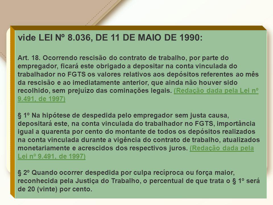 vide LEI Nº 8.036, DE 11 DE MAIO DE 1990: Art. 18. Ocorrendo rescisão do contrato de trabalho, por parte do empregador, ficará este obrigado a deposit