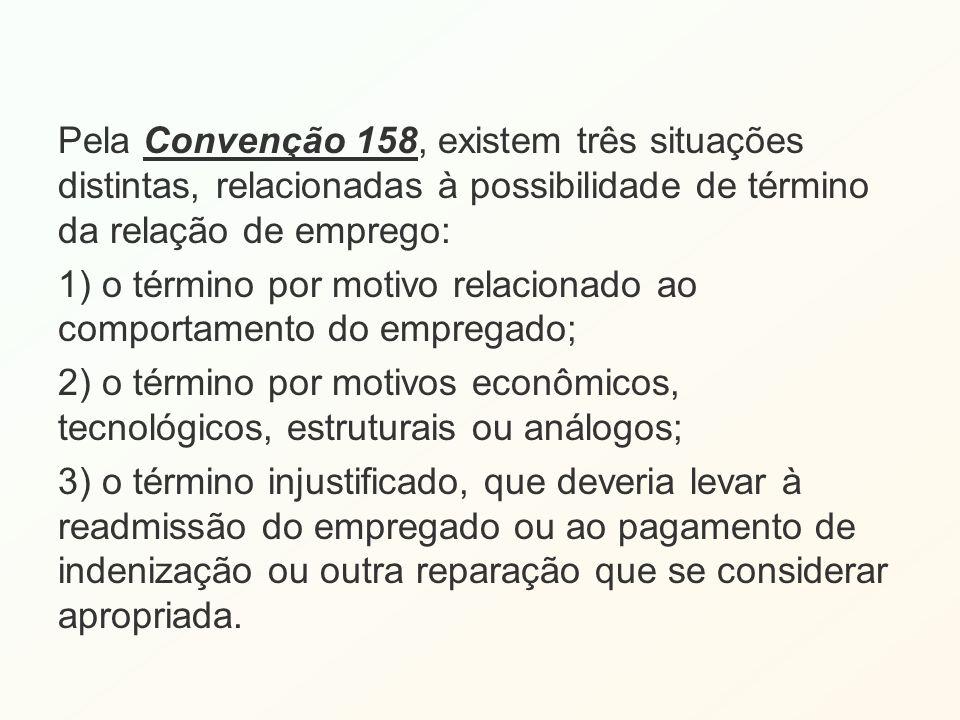 Pela Convenção 158, existem três situações distintas, relacionadas à possibilidade de término da relação de emprego: 1) o término por motivo relaciona