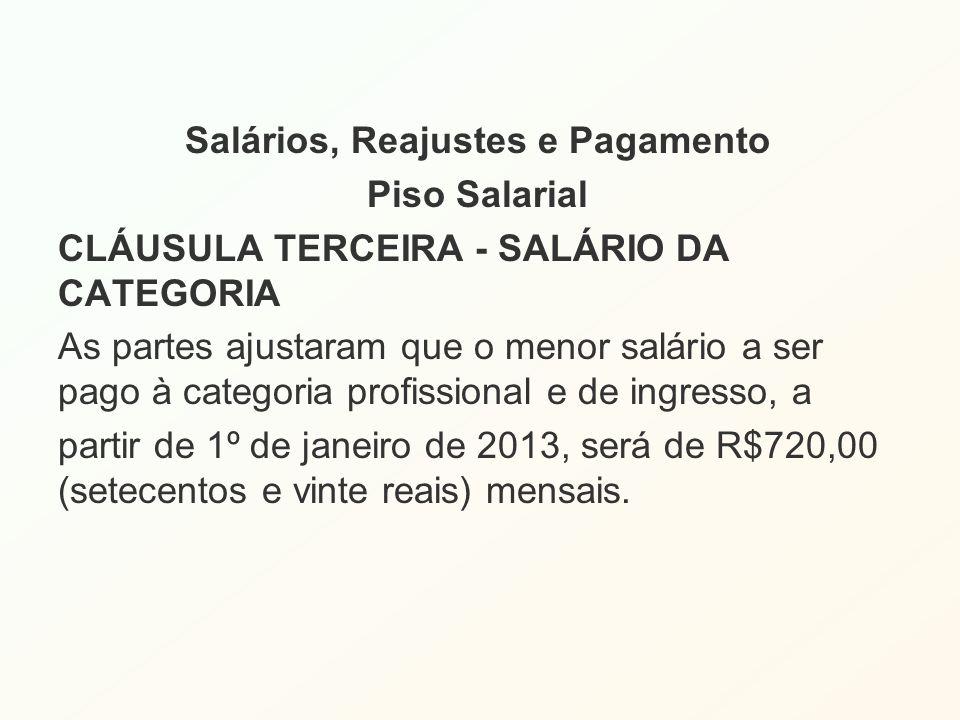 Salários, Reajustes e Pagamento Piso Salarial CLÁUSULA TERCEIRA - SALÁRIO DA CATEGORIA As partes ajustaram que o menor salário a ser pago à categoria