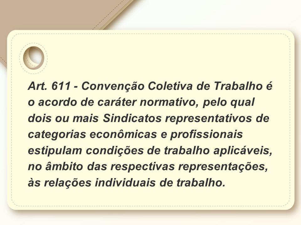 Art. 611 - Convenção Coletiva de Trabalho é o acordo de caráter normativo, pelo qual dois ou mais Sindicatos representativos de categorias econômicas