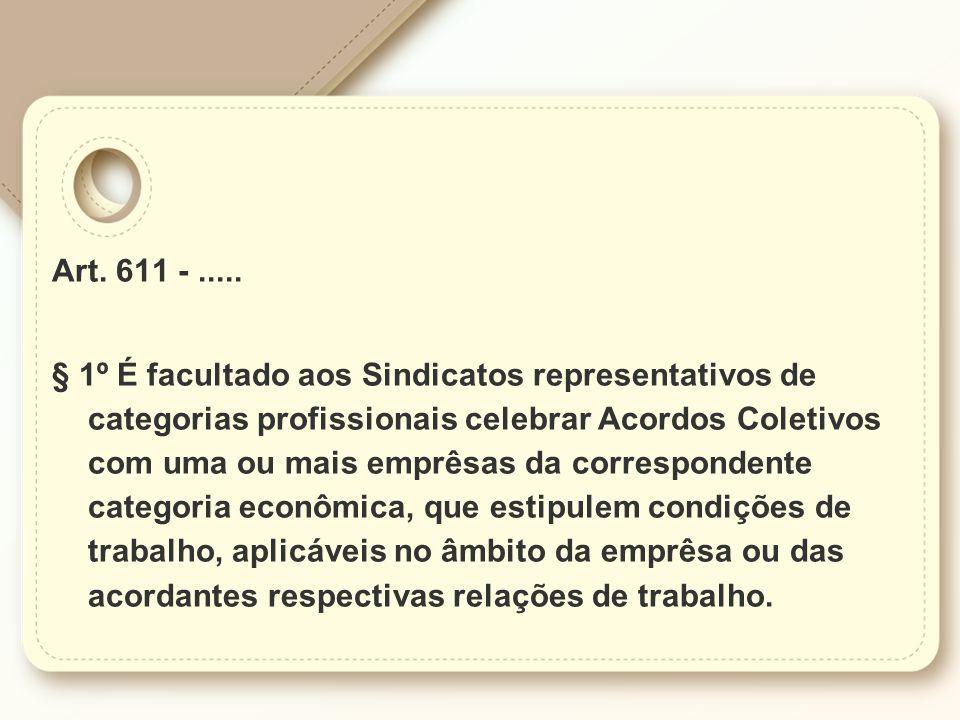 Art. 611 -..... § 1º É facultado aos Sindicatos representativos de categorias profissionais celebrar Acordos Coletivos com uma ou mais emprêsas da cor