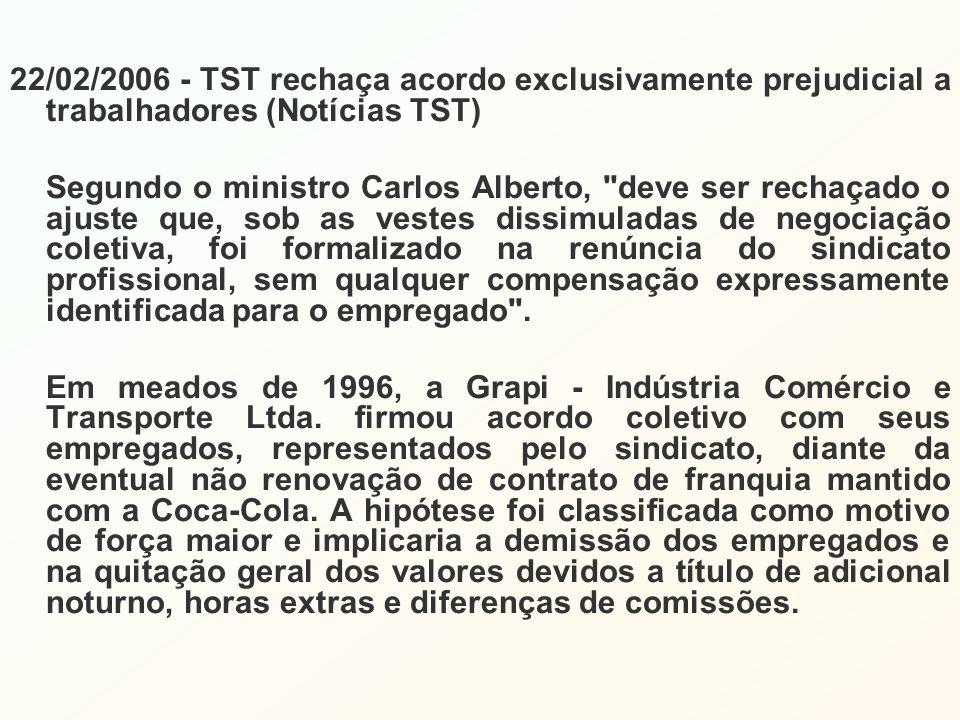 22/02/2006 - TST rechaça acordo exclusivamente prejudicial a trabalhadores (Notícias TST) Segundo o ministro Carlos Alberto,