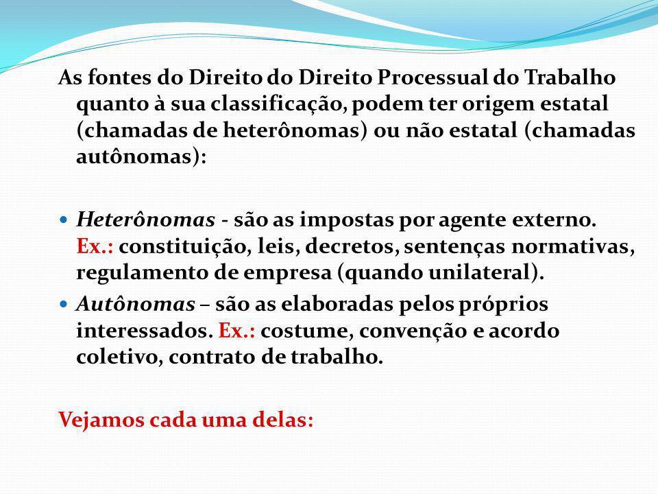 As fontes do Direito do Direito Processual do Trabalho quanto à sua classificação, podem ter origem estatal (chamadas de heterônomas) ou não estatal (