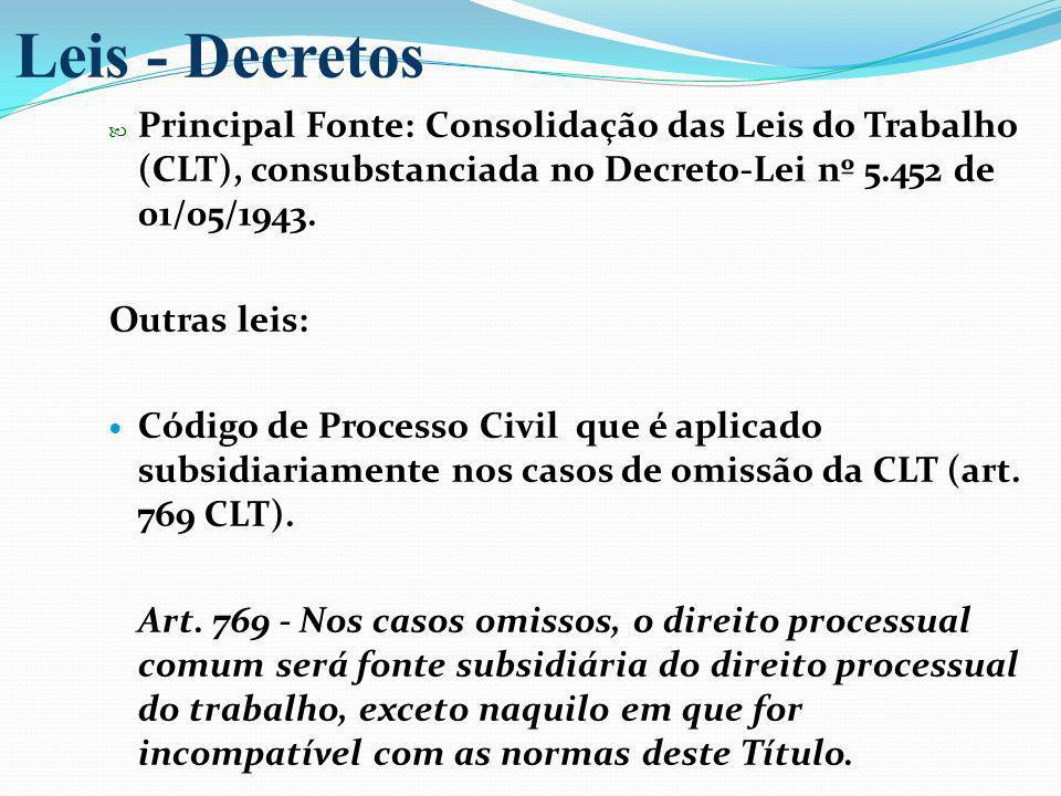 Principal Fonte: Consolidação das Leis do Trabalho (CLT), consubstanciada no Decreto-Lei nº 5.452 de 01/05/1943. Outras leis: Código de Processo Civil