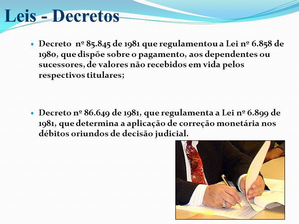Decreto nº 85.845 de 1981 que regulamentou a Lei nº 6.858 de 1980, que dispõe sobre o pagamento, aos dependentes ou sucessores, de valores não recebid