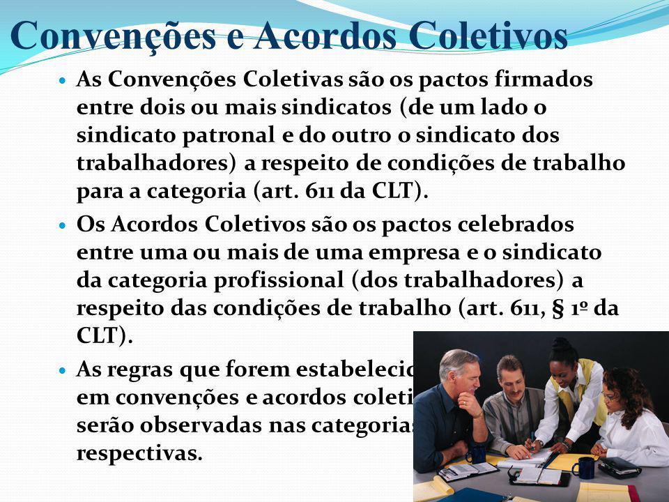 As Convenções Coletivas são os pactos firmados entre dois ou mais sindicatos (de um lado o sindicato patronal e do outro o sindicato dos trabalhadores