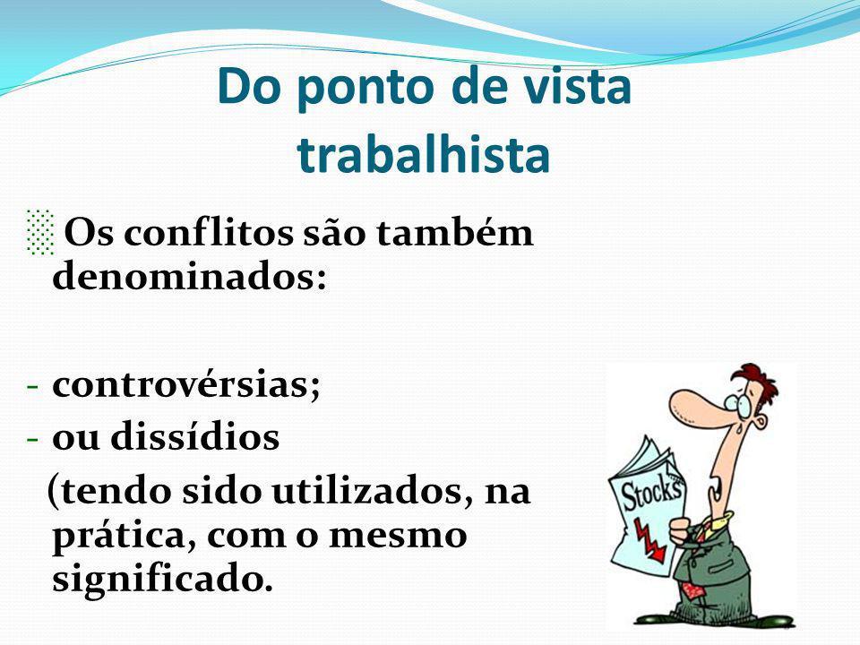 Do ponto de vista trabalhista Os conflitos são também denominados: - controvérsias; - ou dissídios (tendo sido utilizados, na prática, com o mesmo sig