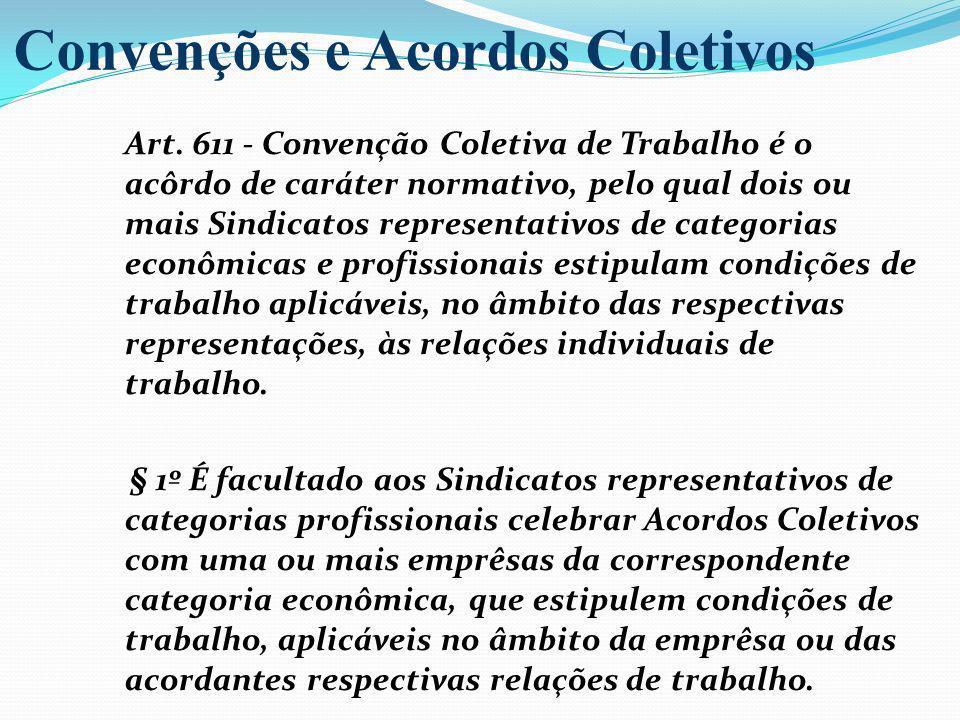 Art. 611 - Convenção Coletiva de Trabalho é o acôrdo de caráter normativo, pelo qual dois ou mais Sindicatos representativos de categorias econômicas