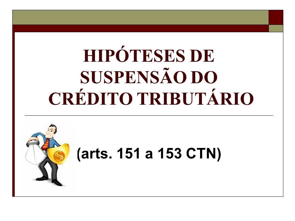 HIPÓTESES DE SUSPENSÃO DO CRÉDITO TRIBUTÁRIO (arts. 151 a 153 CTN)