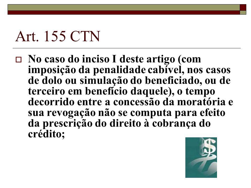 Art. 155 CTN No caso do inciso I deste artigo (com imposição da penalidade cabível, nos casos de dolo ou simulação do beneficiado, ou de terceiro em b