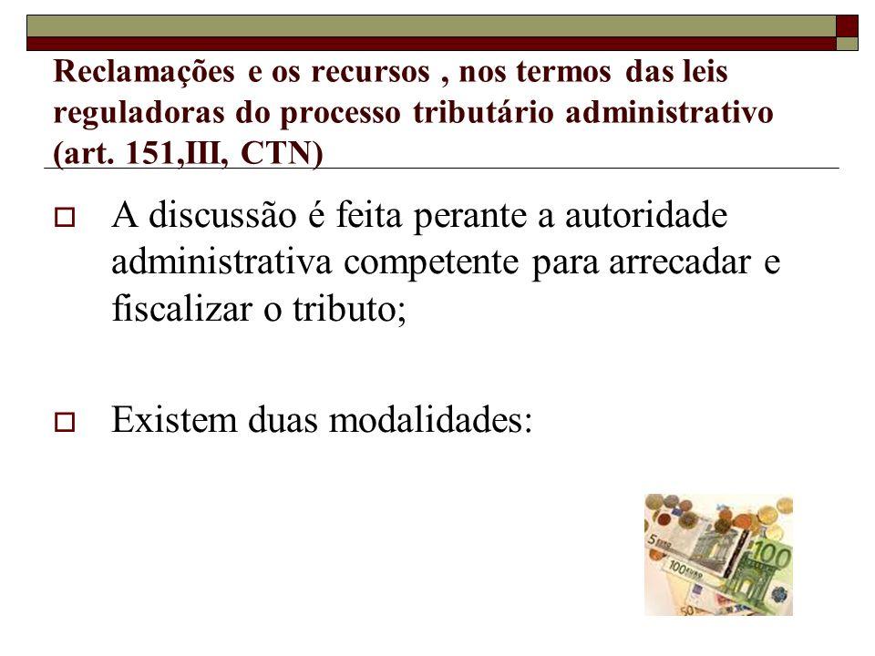 Reclamações e os recursos, nos termos das leis reguladoras do processo tributário administrativo (art. 151,III, CTN) A discussão é feita perante a aut