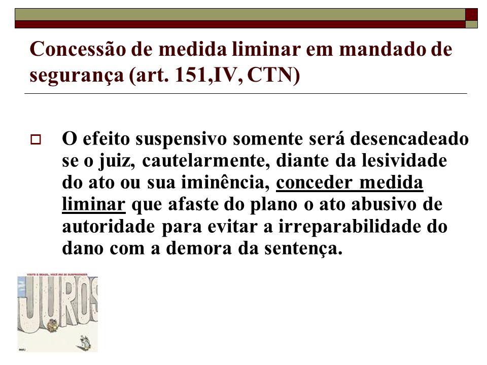 Concessão de medida liminar em mandado de segurança (art. 151,IV, CTN) O efeito suspensivo somente será desencadeado se o juiz, cautelarmente, diante