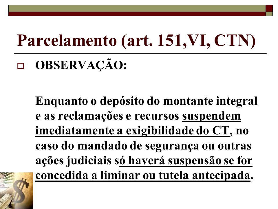 Parcelamento (art. 151,VI, CTN) OBSERVAÇÃO: Enquanto o depósito do montante integral e as reclamações e recursos suspendem imediatamente a exigibilida