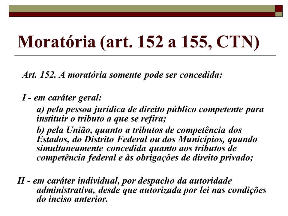 Moratória (art. 152 a 155, CTN) Art. 152. A moratória somente pode ser concedida: I - em caráter geral: a) pela pessoa jurídica de direito público com