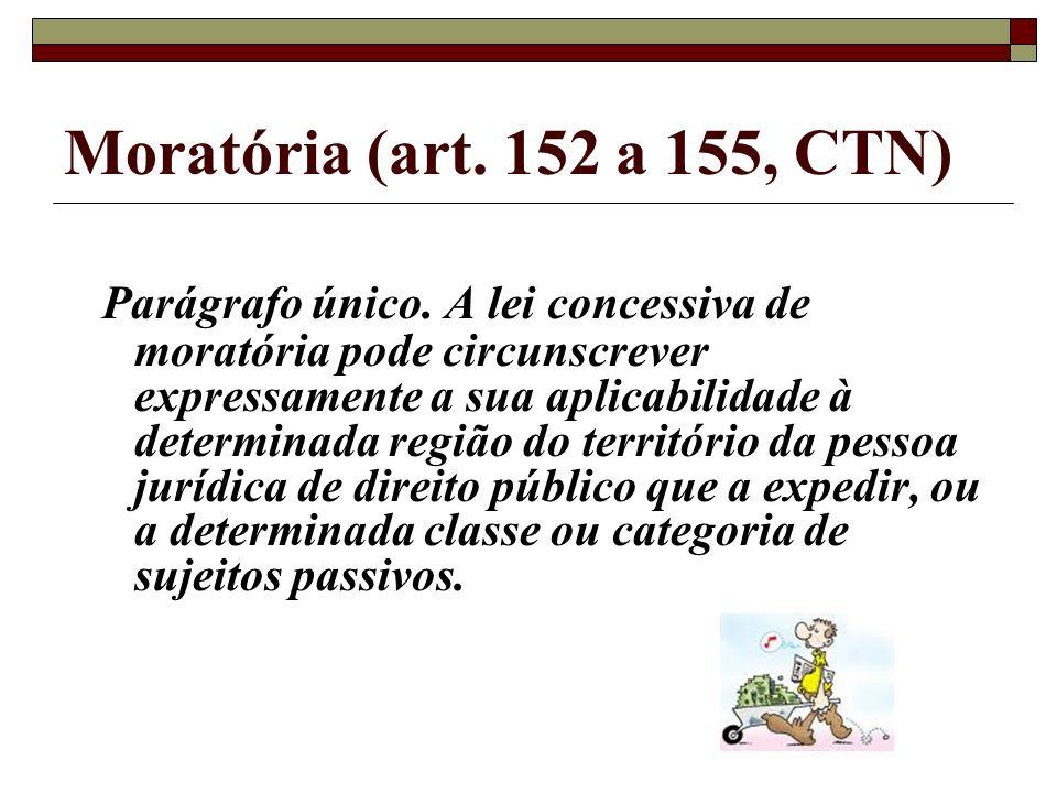 Moratória (art. 152 a 155, CTN) Parágrafo único. A lei concessiva de moratória pode circunscrever expressamente a sua aplicabilidade à determinada reg