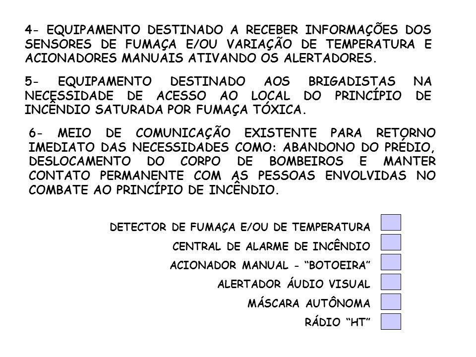 4- EQUIPAMENTO DESTINADO A RECEBER INFORMAÇÕES DOS SENSORES DE FUMAÇA E/OU VARIAÇÃO DE TEMPERATURA E ACIONADORES MANUAIS ATIVANDO OS ALERTADORES. 5- E