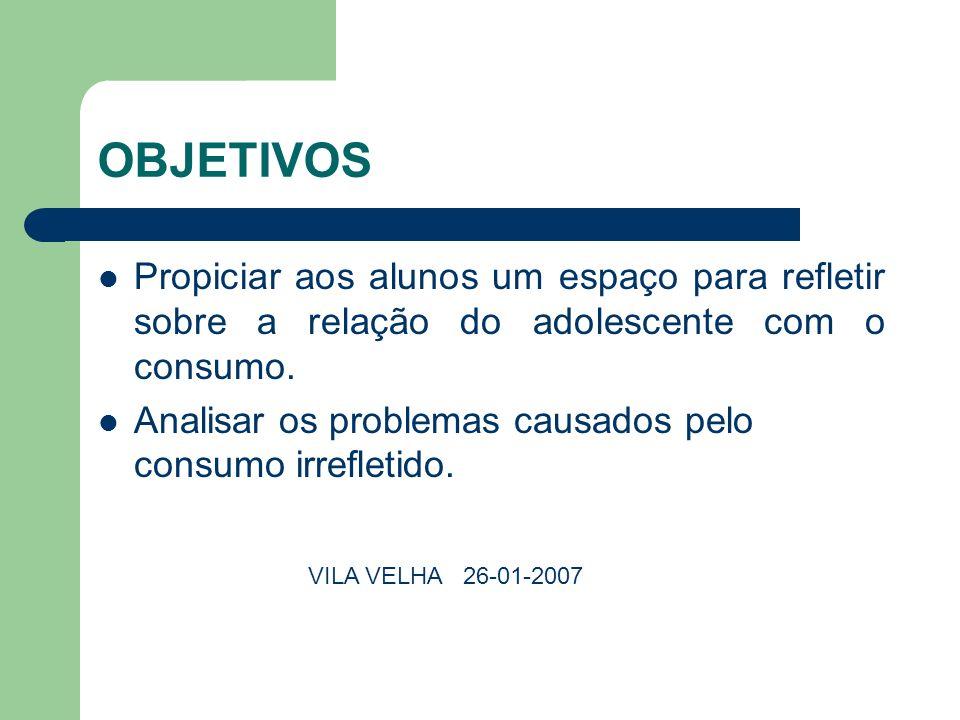 OBJETIVOS Propiciar aos alunos um espaço para refletir sobre a relação do adolescente com o consumo. Analisar os problemas causados pelo consumo irref