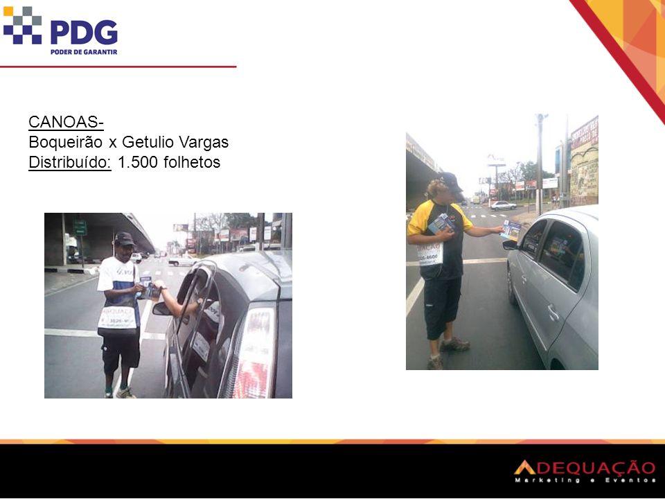 CANOAS- Inconfidência x Getulio Vargas Distribuído: 1.000 folhetos Tivemos 01 desistência Dia 28/10.