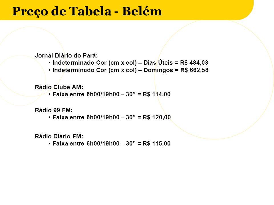 Preço de Tabela - Belém Jornal Diário do Pará: Indeterminado Cor (cm x col) – Dias Úteis = R$ 484,03 Indeterminado Cor (cm x col) – Domingos = R$ 662,