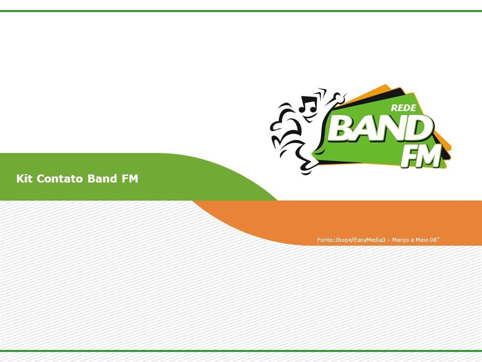 Kit Contato Band FM Fonte:Ibope/EasyMedia3 – Março a Maio 08