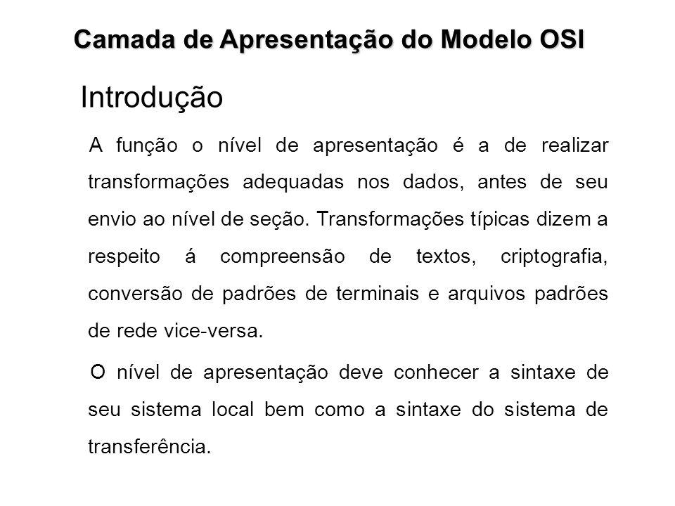 Introdução Camada de Apresentação do Modelo OSI A função o nível de apresentação é a de realizar transformações adequadas nos dados, antes de seu envi
