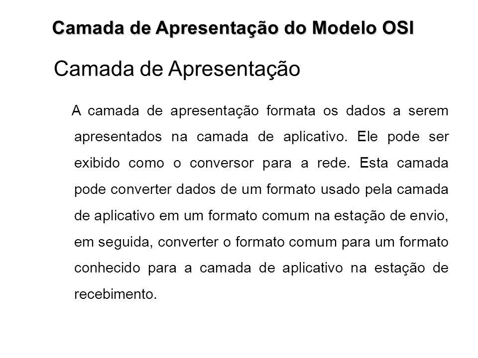 Camada de Apresentação do Modelo OSI Camada de Apresentação A camada de apresentação formata os dados a serem apresentados na camada de aplicativo. El