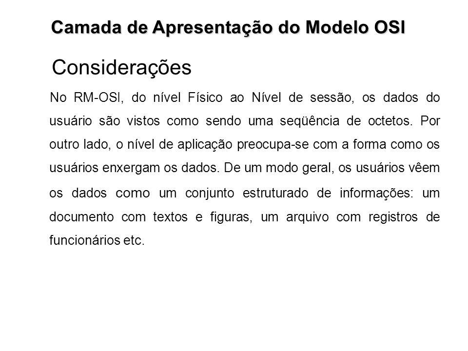 Camada de Apresentação do Modelo OSI Considerações No RM-OSI, do nível Físico ao Nível de sessão, os dados do usuário são vistos como sendo uma seqüên
