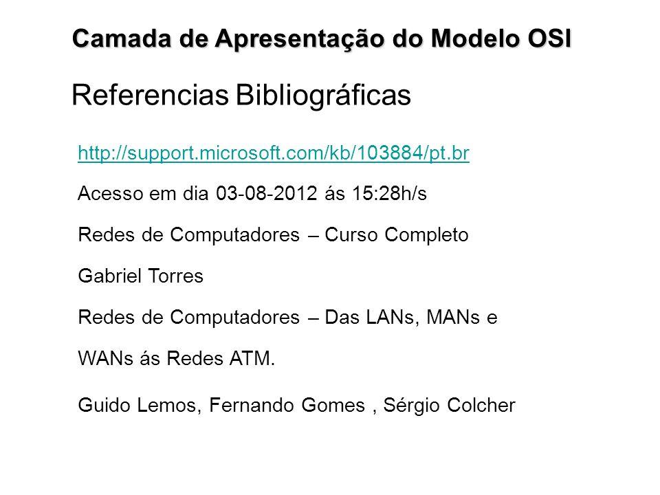 Camada de Apresentação do Modelo OSI Referencias Bibliográficas http://support.microsoft.com/kb/103884/pt.br Acesso em dia 03-08-2012 ás 15:28h/s Rede