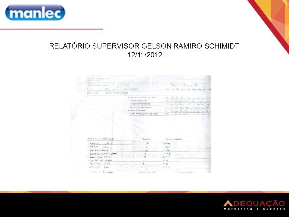 RELATÓRIO SUPERVISOR GELSON RAMIRO SCHIMIDT 12/11/2012