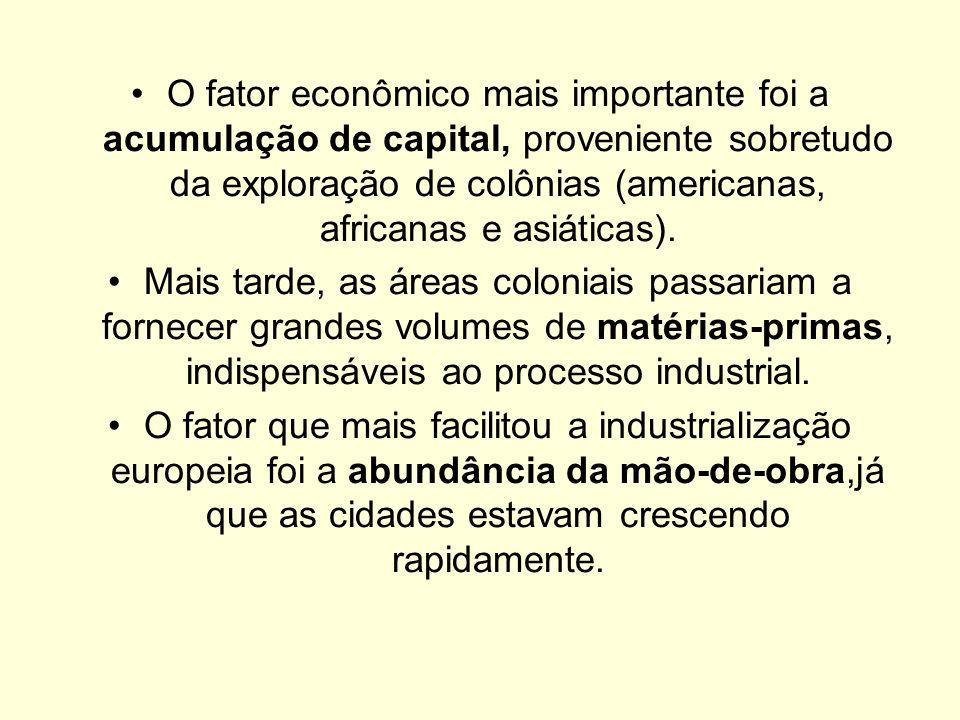 O fator econômico mais importante foi a acumulação de capital, proveniente sobretudo da exploração de colônias (americanas, africanas e asiáticas).