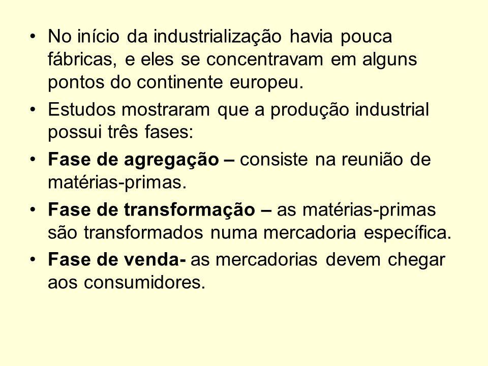 No início da industrialização havia pouca fábricas, e eles se concentravam em alguns pontos do continente europeu.