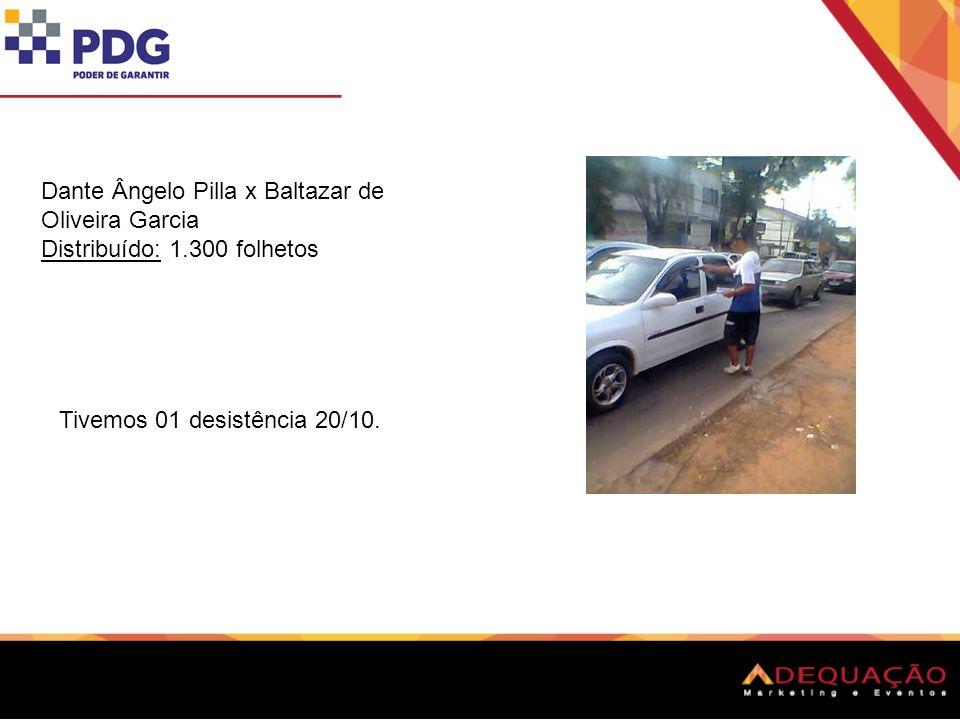 Dante Ângelo Pilla x Baltazar de Oliveira Garcia Distribuído: 1.300 folhetos Tivemos 01 desistência 20/10.
