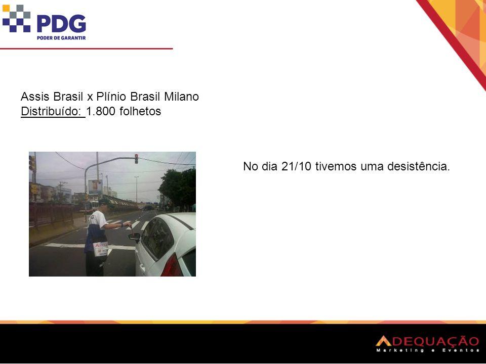 Assis Brasil x Plínio Brasil Milano Distribuído: 1.800 folhetos No dia 21/10 tivemos uma desistência.