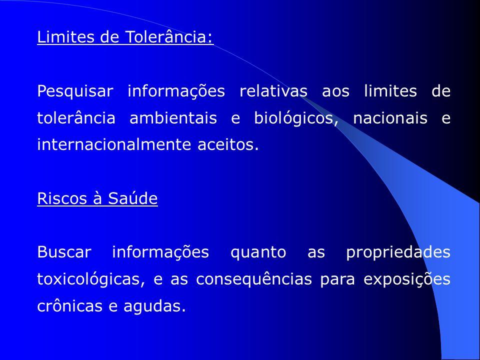 Limites de Tolerância: Pesquisar informações relativas aos limites de tolerância ambientais e biológicos, nacionais e internacionalmente aceitos.