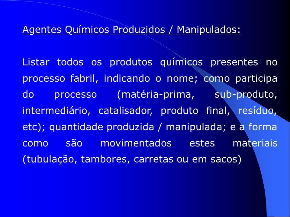 Agentes Químicos Produzidos / Manipulados: Listar todos os produtos químicos presentes no processo fabril, indicando o nome; como participa do processo (matéria-prima, sub-produto, intermediário, catalisador, produto final, resíduo, etc); quantidade produzida / manipulada; e a forma como são movimentados estes materiais (tubulação, tambores, carretas ou em sacos)