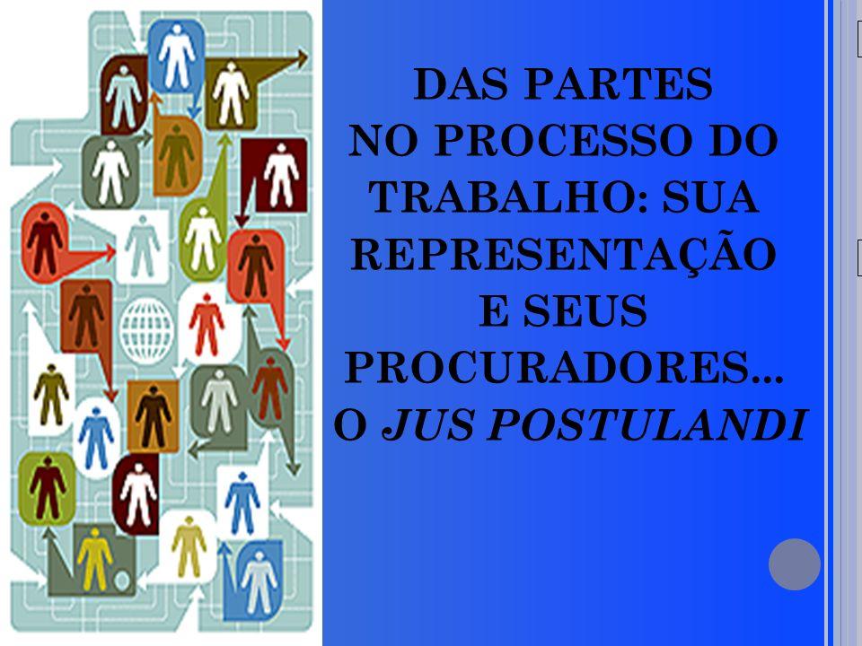 20/05/09 DAS PARTES NO PROCESSO DO TRABALHO: SUA REPRESENTAÇÃO E SEUS PROCURADORES... O JUS POSTULANDI
