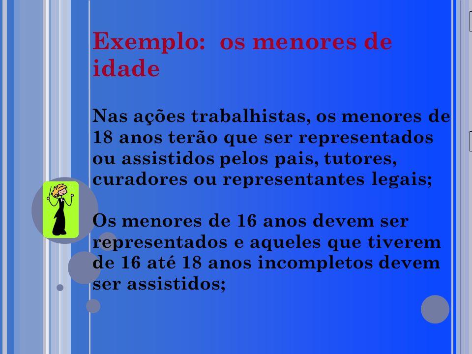 20/05/09 Exemplo: os menores de idade Nas ações trabalhistas, os menores de 18 anos terão que ser representados ou assistidos pelos pais, tutores, cur