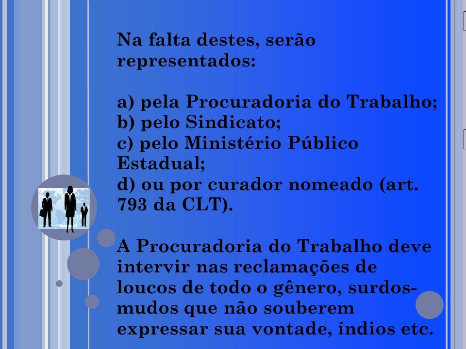 20/05/09 Na falta destes, serão representados: a) pela Procuradoria do Trabalho; b) pelo Sindicato; c) pelo Ministério Público Estadual; d) ou por cur
